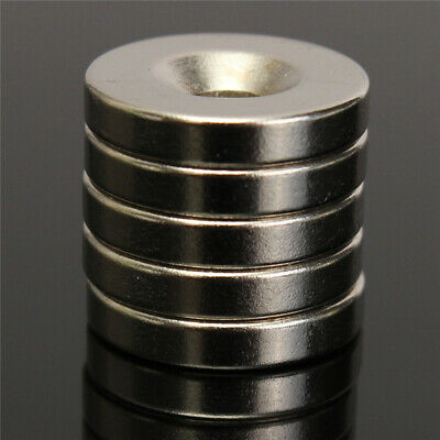 AU4.96 • Buy 5Pcs N52 Rare Earth Neodymium Strong Magnets Round Disc Blocks With Hole 15x3mm