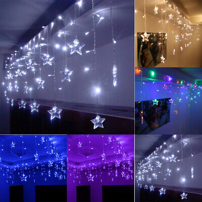 Twinkling Star LED Fairy String Curtain Window Lights Christmas Party Wedding UK • 8.89£