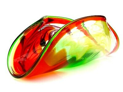 Absolutely Gorgeous Murano Art Glass Biomorphic Bowl Zesty Colours & Copper • 4.99£
