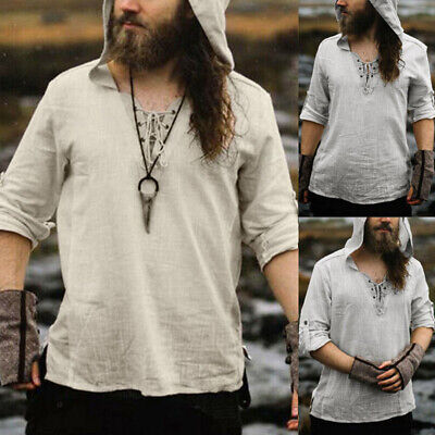 Medieval Renaissance Pirate Viking Men Hooded Tunic Tops Shirts Cosplay Costume • 16.29£