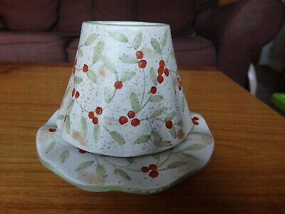 Yankee Candle Small Jar Shade & Tray  Saucer Set Berry Design • 9.50£