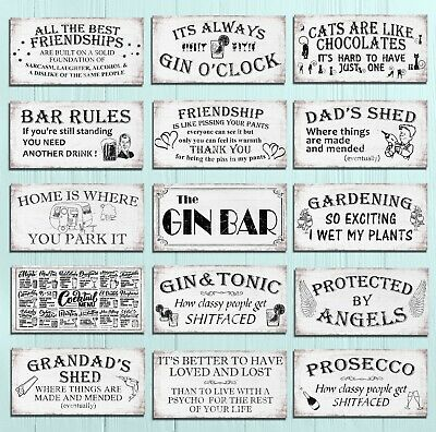 £3.99 • Buy Metal Plaques Signs Shabby Chic Rustic Bar Mancave Garden Home Wall Decor Gift