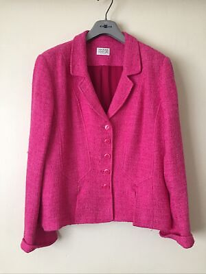 Womens Smart Jacket By Caroline Charles Deep Pink Size 16 • 9£
