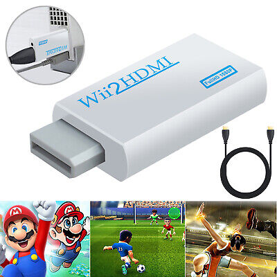 Wii To HDMI Video Converter Audio Output Adapter Upscaling 1080P HD + HDMI Cable • 8.20£