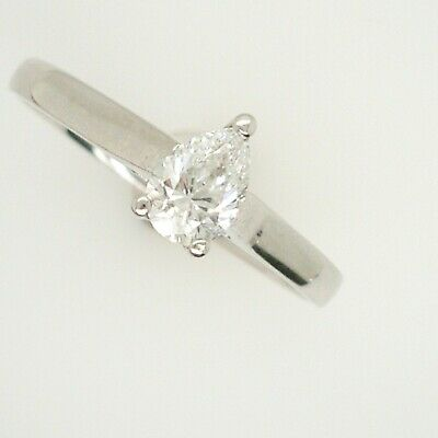 Platinum 0.50ct G VS1 Pear Shape Solitaire Diamond Ring  • 925£