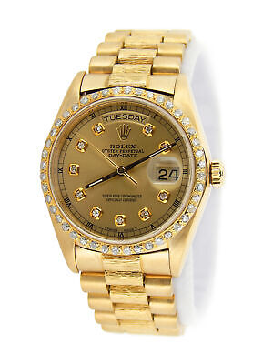 $ CDN18672.66 • Buy Rolex Day-Date President 18078 Mens 18k Yellow Gold Watch Bark Champagne Diamond