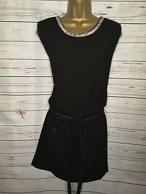 Miss Captain Size UK 12 EUR 40 Belted Shift Dress In Black With Applique Detail  • 18.99£