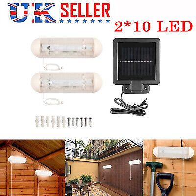 2x Solar Powered LED Light Rechargeable Garage Shed Light Garden Outdoor Indoor • 14.98£