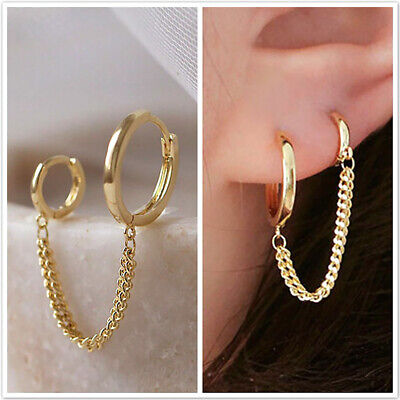 £1.56 • Buy Women's Fashion 18K Gold Double Hoop Earrings With Chain Cartilage Jewelry Gift