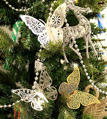 £2.29 • Buy 12Pcs Christmas Tree Decorations Xmas Butterfly Baubles Party Wedding Ornament