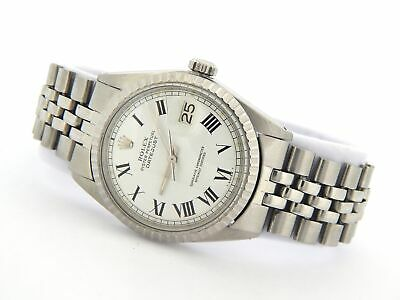 $ CDN5580.47 • Buy Rolex Datejust Mens Stainless Steel Watch White Roman Buckley Dial Vintage 1603