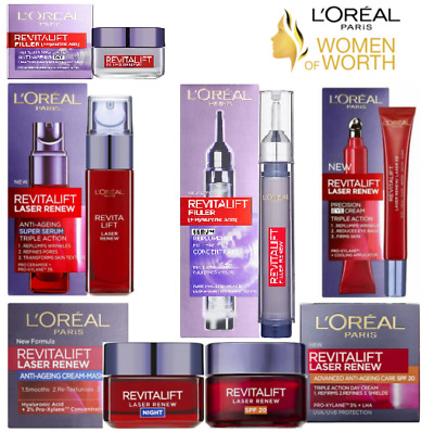 L'oreal REVITALIFT Hyaluronic Filler Acid Mask, Serum Or Eye And Face Creams UK • 10.99£