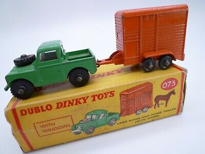Vintage Dublo Dinky 073 Land Rover And Horse Box Set In Original Box 1960-64   • 31£