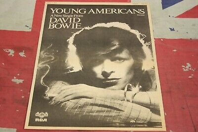 DAVID BOWIE  Young Americans  New Single 1975 Original Sounds ADVERT/POSTER • 0.99£