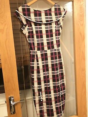 Bettie Page Vintage Wiggle Checked Dress Size 6 • 65£