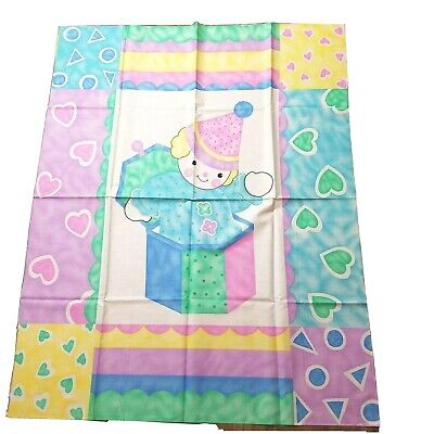 £7.15 • Buy Vintage Fabric Panel Clown Jack In The Box Pastel Fun Colors Hearts Shapes Baby