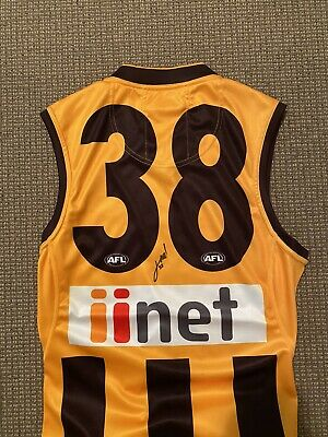 AU150 • Buy Hawthorn Hawks #38 Home Guernsey SIGNED By James Worpel