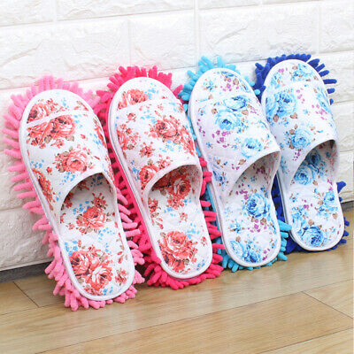 Unisex Microfiber Mop Slippers Floor Cleaning Dust Home Cleaning Tool Shoes • 6.13£