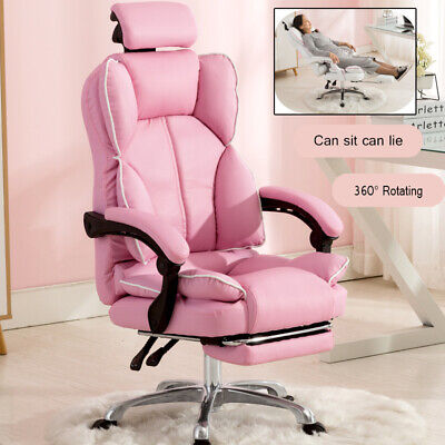 AU159.66 • Buy Pink Executive Home Office Chair Gaming Race Computer Desk Reclining & Footrest