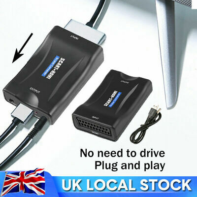 £9.89 • Buy SCART To HDMI Adapter 1080P HD Video Audio Upscale Converter USB Cable TV DVD UK