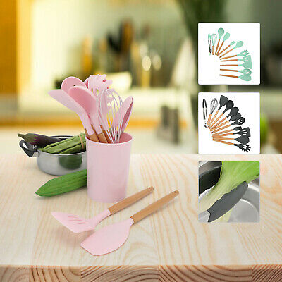 AU14.09 • Buy 13X Silicone Utensils Set Wooden Cooking Kitchen Baking Cookware BPA Free
