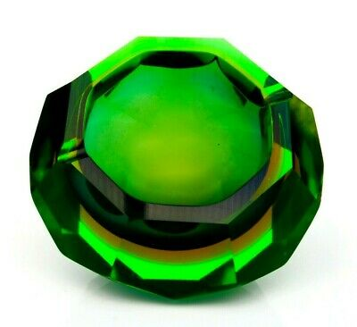 Hard To Find 1960s Murano Glowing Uranium Faceted Space Age Bowl Campanella • 4.99£