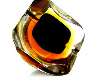 Superb Colour Reflecting 1960s Murano Sommerso Faceted Space Age UFO Block Bowl • 5.69£
