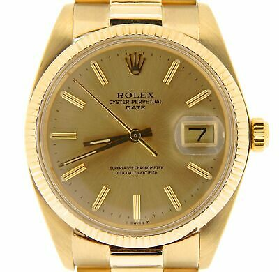 $ CDN10433.07 • Buy Vintage Rolex Date 1503 Mens Solid 14K Yellow Gold Watch Champagne Dial 34mm