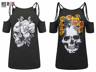 £10 • Buy Ro Rox Piper Skull Roses Cold Shoulder Top Casual Punk Goth Style Womens T-shirt