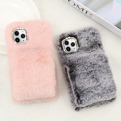 Diamond Plush Faux Fur Fluffy Warm Phone Case Cover For IPhone 7 8 XR 11 12 Pro • 6.15£