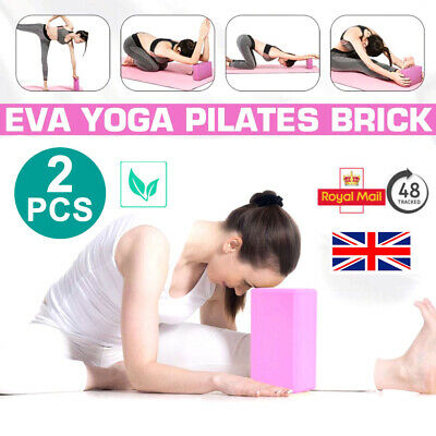 2 X Yoga Block Pilates EVA Foaming Foam Brick Exercise Gym Fitness Up Stretching • 1.50£