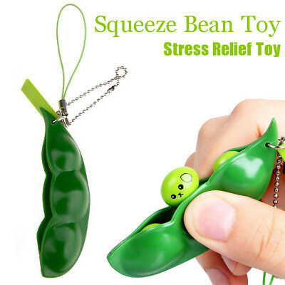 5X Funny Bean Squeeze Peas Toys Pendants Keychain Anti Stress Relief Ball Gadget • 7.16£