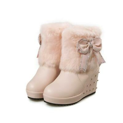 Sweet Women Bowknot Studded Winter Warm Furry Wedge Heel Ankle Snow Boots Ting1 • 37.08£