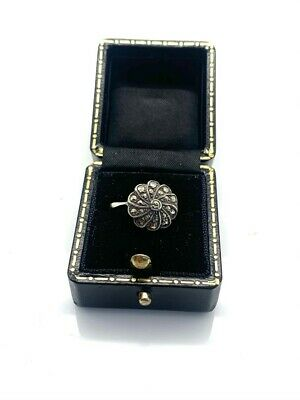 A Vintage Art Deco Style 925 Sterling Silver Marcasite Cluster Ring Size K 1/2  • 6£
