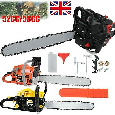20  Bar Power Tool Gasoline Chainsaw 58cc Chain Saw Wood Cutting Petrol Engine • 78.99£