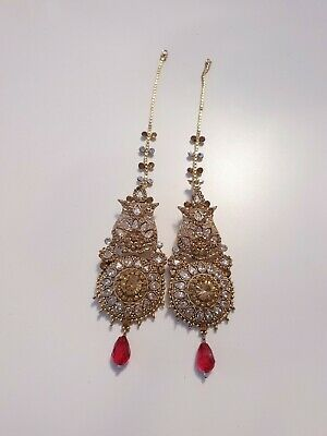 Beautiful Antique Gold Indian/Pakistani Statement Earrings Bollywood Jewellery  • 3.99£