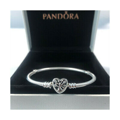 Genuine Silver Pandora Moments Family Tree Heart Clasp Snake Chain Bracelet • 14.59£