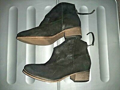 Ladies Black Suede Leather Block Heel Ankle Boots Superdry Womens Uk Size 5 • 0.99£
