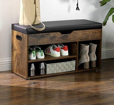 Entryway Shoe Storage Bench Padded Seat Ottoman  Chest Trunk Hallway Shelves • 79.99£