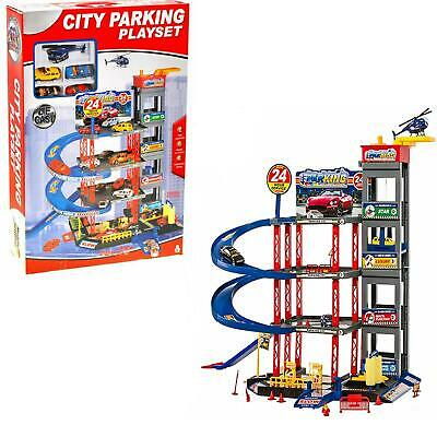 Toy 4 Storey Multi Car Park Garage Parking Elevator Helicopter 4 Die Cast Cars • 29.95£