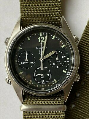 View Details Vintage 1990 Seiko 7a28 7120 Gen 1 Military Issued Pilots Chronograph Mens Watch • 495.00£