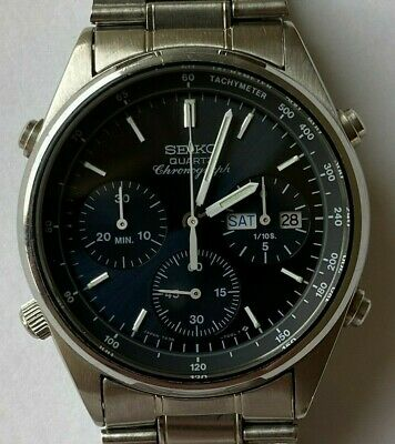 View Details Vintage Seiko 7a38 706a Blue Dial Chronograph Day Date Mens Watch • 349.99£