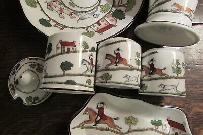 Coalport Porcelain Hunting Scenes Bone China Condiment Set Vase & Dish 6 Piece • 36£