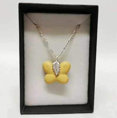 £35 • Buy Wedgwood Pottery Yellow Butterfly Pendant With .925 Silver Chain (18 ) Necklace