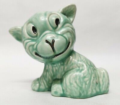 Vintage Price Bros, Pottery Smiling Caricature Cat Dog Green 1930'S Sylvac Style • 23£