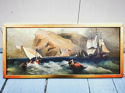 Antique Oil On Canvas Framed Sailing Ship Sea Costal Scene Painting Art Boat • 100£