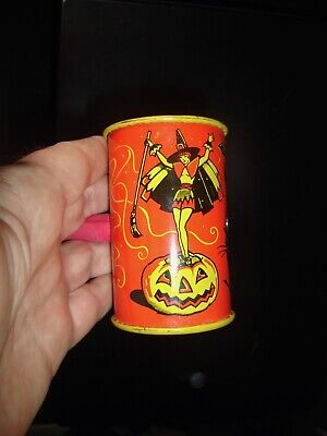 $ CDN57.09 • Buy Vintage USA Tin Lithograph Halloween Noisemaker KIRCHOFF BARREL Sexy Witch