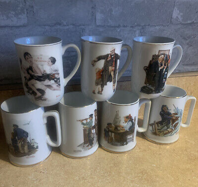 $ CDN18.49 • Buy Norman Rockwell Museum Collection 1982 Coffee Mugs Cups Gold Trim Set Of 7