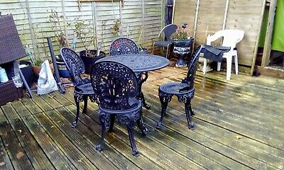 ''VINTAGE BISTRO/PATIO Cast Aluminium Table And 4 Chairs EXCELLENT Condition • 240£