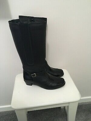 Pavers Black Leather Knee High Boots Size 7 • 20£